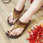 รองเท้าแตะแฟชั่น แบบหนีบ แต่งเพชรคลิสตัลสีไล่โทนสวยหรู พื้นซอฟคอมฟอตนิ่มสไตล์ฟิตฟลอบ ใส่สบาย แมทสวยได้ทุกชุด (AW120)