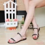 รองเท้าแตะแฟชั่น แบบสวม รัดส้น แต่งโซ่สวยเก๋สไตล์แบรนด์ ใส่สบาย แมทสวยได้ทุกชุด (M1844)
