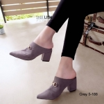 รองเท้าคัทชู เปิดส้น ส้นสูง ทรงหัวแหลม หนังสักหราดแต่งอะไหล่สไตล์กุชชี่เรียบหรูดูดี หนังนิ่ม ทรงสวย สูง 3 นิ้ว ใส่สบาย แมทสวยได้ทุกชุด (5-188)