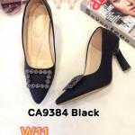 รองเท้าคัทชู ส้นสูง แต่งอะไหล่สวยหรู ส้นเหลี่ยมเก๋ ส้นสูงประมาณ 3.5 นิ้ว ใส่สบาย แมทสวยได้ทุกชุด (CA9384)