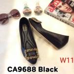 รองเท้าคัทชู ส้นเตารีด แต่งอะไหล่ด้านหน้าสวยหรู ทรงสวย หนังนิ่ม ใส่สบาย ส้นสูงประมาณ 2 นิ้ว แมทสวยได้ทุกชุด (CA9688)