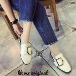 รองเท้าคัทชู เปิดส้น แต่งเข็มขัดด้านหน้าสวยเก๋ ส้นแต่งหมุดและมุกเพิ่มความหรูสไตล์กุชชี่ ใส่สบาย แมทสวยได้ทุกชุด