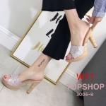 รองเท้าแฟชั่น แบบสวม แต่งหนังกลิสเตอร์สวยหรู ส้นลายไม้เก๋ ทรงสวย ใส่สบาย ส้นสูงประมาณ 4.5 นิ้ว แมทสวยได้ทุกชุด (3006-8)