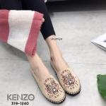 รองเท้าคัทชู ทรง slip on หนังสักหราดนิ่มปักลายเสือสไตล์เคนโซ่สวยเก๋ แต่งขอบเชือกถัก ใส่สบาย แมทสวยได้ทุกชุด (319-1240)