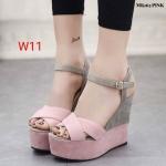 รองเท้าแฟชั่น ส้นเตารีด แบบสวม รัดส้น หน้าไขว้ตัดสีสวยเก๋ ทรงสวย ส้นเสริม 2 ระดับเอาใจสวยร่างเล็ก สูงประมาณ 6.5 นิ้ว เสริมหน้า 2.5 นิ้ว ใส่สบาย แมทสวยได้ทุกชุด (MK165)