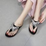 รองเท้าแตะแฟชั่น แบบหนีบ แต่งอะไหล่ผีเสื้อเพชรคลิสตัลสวยหรู ทรงสวย พื้นนิ่ม ใส่สบาย แมทสวยได้ทุกชุด