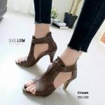 รองเท้าแฟชั่น ส้นสูง รัดข้อ ดีไซน์ปิดหน้าเท้าเว้าข้าง สายรัดข้อ 2 ชั้นสวยเก๋มาก หนังนิ่ม งานสวย ซิปหลังใส่ง่าย ใส่สบาย ส้นสูง 3 นิ้ว แมทสวยได้ทุกชุด (350-209)