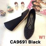 รองเท้าคัทชู ส้นเตารีด แต่งคลิสตัลด้านหน้าสวยหรู ทรงสวย หนังนิ่ม ใส่สบาย ส้นสูงประมาณ 2 นิ้ว แมทสวยได้ทุกชุด (CA9691)