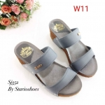 รองเท้าแฟชั่น ส้นเตารีด แบบสวม คาดหน้า 2 ตอน สวยเรียบเก๋ ใส่สบาย แมทสวยได้ทุกชุด (Sj352)