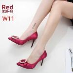 รองเท้าคัทชู ส้นสูง บุผ้าซาตินแต่งอะไหล่สวยหรู ทรงสวย หนังนิ่ม ส้นสูงประมาณ 4 นิ้ว ใส่สบาย แมทสวยได้ทุกชุด (528-18)