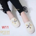 รองเท้าคัทชู ทรง slip on ปักลายดอกไม้ แต่งเชือกถักที่ส้นสไตล์วินเทจ สวยเก๋ห์ ทรงสวย ใส่สบาย แมทสวยเท่ห์ได้ทุกชุด (345-213)