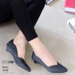 รองเท้าคัทชู ส้นเตี้ย หนังกลิสเตอร์แต่งขอบหยักสวยหรูสไตล์ ZARA หนังนิ่ม งานสวย ใส่สบาย ส้นสูง 1 นิ้ว แมทสวยได้ทุกชุด (3230)