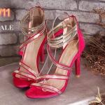 รองเท้าแฟชั่น ส้นสูง แบบสวม รัดข้อ แต่งแถบเส้นทองสวยหรู ส้นสูงประมาณ 4.5 นิ้ว ใส่ออกงาน ปาร์ตี้ แมทสวยโดดเด่นได้ทุกชุด