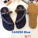 รองเท้าแตะแฟชั่น แบบสวมนิ้วโป้งคาดเฉียง แต่งอะไหล่สวยหรู หนังนิ่ม พื้นนิ้ม ทรงสวย ใส่สบาย แมทสวยได้ทุกชุด (CA9250)