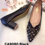 รองเท้าคัทชู ส้นสูง ทรงหัวแหลม หนังฉลุด้านหน้าแต่งดาวสวยหรู หนังนิ่ม ใส่สบาย ทรงสวย ส้นตัดสูงประมาณ 3 นิ้ว แมทสวยได้ทุกชุด (CA9080)