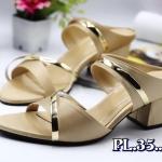 รองเท้าแฟชั่น แบบสวม แต่งคาดหน้าอะไหล่ทองสวยหรู หนังนิ่ม ใส่สบาย ส้นสูงประมาร 2.5 นิ้ว แมทสวยได้ทุกชุด