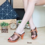 รองเท้าแฟชั่น แบบสวม ส้นสูง ทรงสวยหุ้มหน้าเท้าแต่งเข็มขัดสวยเก๋ หนังนิ่ม ส้นสูงประมาณ 3 นิ้ว ใส่สบาย แมทสวยได้ทุกชุด (PU6086)