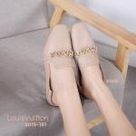 รองเท้าคัทชู ส้นแบน แต่งโซ่ทองด้านหน้าสวยเก๋ ทรงสวย หนังนิ่ม เหยียบส้นได้ ใส่สบาย แมทสวยได้ทุกชุด (2015-161)