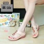รองเท้าแฟชั่น ส้นเตารีด สไตล์ลำลอง แบบหนีบ แต่งคลิสตัลสวยหรู พื้นนิ่ม หนังนิ่ม ใส่สบาย แมทสวยได้ทุกชุด (ฺPU6090)