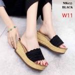 รองเท้าแฟชั่น ส้นเตารีด แบบสวม ส้นลายไม้สวยน่ารัก ใส่สบาย แมทสวยได้ทุกชุด (MK155)