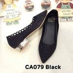 รองเท้าคัทชู ส้นเตี้ย แต่งลายฉลุประดับคลิสตัลรอบตัวสวยหรู ส้นเคลือบเงาสวยดูดี หนังนิ่ม ทรงสวย ใส่สบาย ส้นสูงประมาณ 1 นิ้ว แมทสวยได้ทุกชุด (CA079)