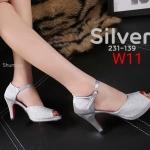 รองเท้าแฟชั่น ส้นสูง รัดส้น แต่งหนังกลิสเตอร์วิ้งสวยหรู ทรงสวย หนังนิ่ม ส้นสูงประมาณ 3 นิ้ว ใส่สบาย แมทสวยได้ทุกชุด (231-139)
