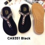 รองเท้าแตะแฟชั่น แบบหนีบ แต่งอะไหล่คลิสตัลสวยหรู พื้นนิ่ม ใส่สบาย แมทสวยได้ทุกชุด (CA9351)