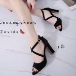 รองเท้าแฟชั่น ส้นสูง รัดส้น หนังกำมะหยี่ สายไขว้ด้านหน้าสวยเรียบหรู ส้นสูงประมาณ 4 นิ้ว แมทสวยได้ทุกชุด (17-4070)