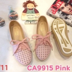 รองเท้าคัทชู ส้นแบน สไตล์ผ้าใบสวยเก๋น่ารัก แต่งฉลุลายและเชือกผูกหน้าสวยวินเทจ หนังนิ่ม ใส่สบาย แมทสวยได้ทุกชุด (CA9915)