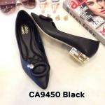รองเท้าคัทชู ส้นเตี้ย แต่งอะไหล่สวยหรู ทรงสวย หนังนิ่ม ส้นเคลือบเงา สูงประมาณ 1 นิ้ว ใส่สบาย แมทสวยได้ทุกชุด (CA9450)
