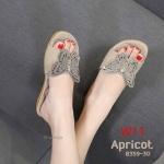 รองเท้าแตะแฟชั่น แบบสวม แต่งอะไหล่ผีเสื้อคลิิสตัลสวยหรู พื้นนิ่ม ใส่สบาย แมทสวยได้ทุกชุด (B359-30)