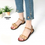 รองเท้าแตะแฟชั่น แบบสวม รัดส้น แต่งมุกและหมุดสวยหวานน่ารักสไตล์เกาหลี หนังนิ่ม ทรงสวย ใส่สบาย แมทสวยได้ทุกชุด (MK180)