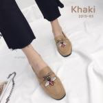 รองเท้าคัทชู ส้นแบน หนังสักหราดปักลายผึ้งแต่งอะไหล่สวยเก๋ สไตล์กุชชี่ หนังนิ่ม ใส่สบาย แมทสวยได้ทุกชุด (2015-83)