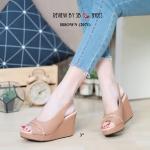รองเท้าคัทชู ส้นเตารีด รัดส้น เปิดนิ้ว แต่งโซ่สวยเก๋ หนังนิ่ม ทรงสวย สูง 3 นิ้ว ใส่สบาย แมทสวยได้ทุกชุด (2071)