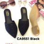 รองเท้าคัทชู เปิดส้น หนังกลิสเตอร์แต่งคลิสตัลและลายฉลุสวยหรู ทรงสวย ใส่สบาย แมทสวยได้ทุกชุด (CA9551)