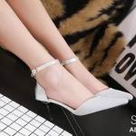 รองเท้าคัทชู ส้นเตี้ รัดข้อ หนังกลิสเตอร์วิ้งสวยหรู หนังนิ่ม ทรงสวย ส้นสูงประมาณ 2 นิ้ว ใส่สบาย แมทสวยเท่ห์ได้ทุกชุด (A8697-70)