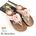รองเท้าแตะแฟชั่น แบบหนีบ แต่งดอกไม้ปักสวยหวาน พื้นซอฟคอมฟอตนิ่มสไตล์ฟิตฟลอบ ใส่สบายมาก แมทสวยได้ทุกชุด (Pf2271)