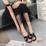 รองเท้าแฟชั่น ส้นสูง แบบสวม หน้า H แต่งขอบสวยเรียบเก๋สไตล์แอร์เมส ส้นลายไม้ หนังนิ่ม ใส่สบาย แมทสวยได้ทุกชุด (K9309)