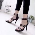 รองเท้าแฟชั่น ส้นสูง รัดข้อ ดีไซน์สวยเก๋ แต่งพลาสติกใสสวยอินเทรนด์ ทรงสวย ส้นสูงประมาณ 4.5 นิ้ว ซิปหลังใส่ง่าย แมทสวยได้ทุกชุด (17-4077)