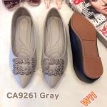 รองเท้าคัทชู ส้นแบน แต่งอะไหล่สวยหรู หนังนิ่ม พื้นนิ่ม ใส่สบาย แมทสวยได้ทุกชุด (CA9261)