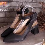 รองเท้าคัทชู ส้นสูง รัดข้อ ทรงหัวแหลม สายรัดแต่งเข็มขัดสวยเก๋ ทรงสวย ส้นสูงประมาณ 3 นิ้ว แมทสวยได้ทุกชุด (FT-492)