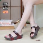 รองเท้าแตะแฟชั่น แบบสวม คาด 2 ตอน สวยเก๋ พื้นซอฟคอมฟอตนิ่มสไตล์ฟิตฟลอบ ใส่สบายมาก แมทสวยได้ทุกชุด (F1085)