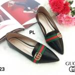 รองเท้าคัทชู ส้นแบน แต่งคาดแถบสีอะไหล่ GG สไตล์กุชชี่ หนังนิ่ม ทรงสวย ใส่สบาย แมทสวยได้ทุกชุด (P-223)