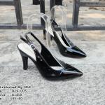 รองเท้าคัทชู ส้นสูง รัดส้น ทรงหัวแหลม เปิดส้น หนังแก้วเงา สวยหรูมาก ส้นสูง 3 นิ้ว หน้งนิ่ม ทรงสวย ใส่สบาย แมทสวยได้ทุกชุด (B29-005)