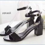 รองเท้าแฟชั่น แบบสวม รัดข้อ หนังเงาสวยเรียบหรู ทรงสวยหนังนิ่ม ใส่สบาย ส้นสูงประมาณ 2.5 นิ้ว แมทสวยได้ทุกชุด