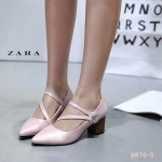 รองเท้าคัทชู ส้นสูง สายคาดเฉียงแต่งอะไหล่ด้านข้างสวยหรู หนังนิ่ม ทรงสวย ส้นลายไม้ สูงประมาณ 3 นิ้วใส่สบาย แมทสวยได้ทุกชุด (B876-3)