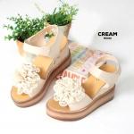 รองเท้าแฟชั่น ส้นเตารีด แบบสวม รัดส้น แต่งดอกไม้สวยน่ารัก หนังนิ่ม ทรงสวย เสริมส้น 2 ระดับ สูง 4 นิ้ว หน้า 2 นิ้ว ใส่สบาย แมทสวยได้ทุกชุด (MK192)