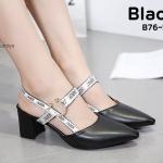 รองเท้าคัทชู ส้นเตารีด ส้นเตี้ย รัดส้น แต่งลายสไตล์ดิออร์แต่งอะไหล่สวยเก๋ ใส่สบาย แมทสวยได้ทุกชุด (B76-58)