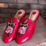 รองเท้าคัทชู เปิดส้น แต่งลายกุหลาบปักและอะไหล่สวยหรู ใส่สบาย ทรงสวย แมทสวยได้ทุกชุด