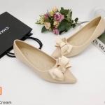 รองเท้าคััทชู ส้นแบน ทรงหัวแหลม แต่งโบว์หน้าสวยเก๋ ทรงสวยเพรียว หนังนิ่ม ใส่สบาย แมทสวยได้ทุกชุด (K5056)